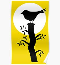 The Swallow on the Tree (Minimalist Art) Silhouette Poster