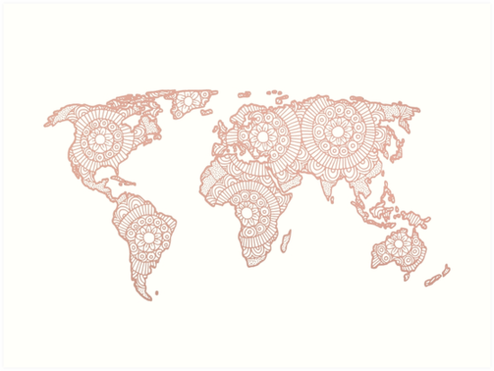 Rose Gold Mandala World Map Art Prints By Julieerindesign Redbubble - Mandala map of the world