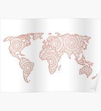 Rose Gold Mandala World Map Poster