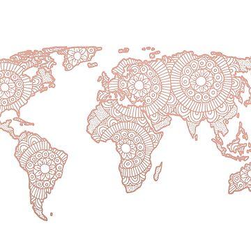 Rose Gold Mandala World Map by julieerindesign