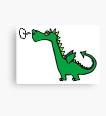 Green Cartoon Dragon Drawing Canvas Print