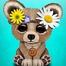 Netter Baby-Bär Cub Hippie auf Blau von jeff bartels