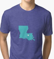 Louisiana Love in Turquoise Tri-blend T-Shirt