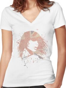 Bird Song Women's Fitted V-Neck T-Shirt