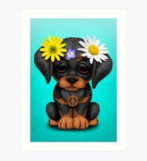 Cute Doberman Puppy Hippie Art Print