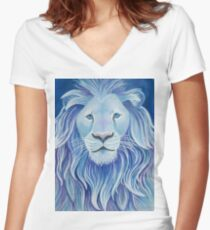 Jewel Lion Women's Fitted V-Neck T-Shirt