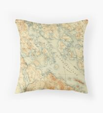 Vintage Map of Lake Winnipesaukee (1907) Throw Pillow