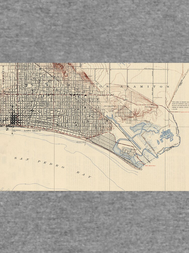 Vintage Map of Long Beach California (1923) by BravuraMedia