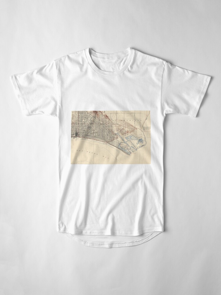 Alternate view of Vintage Map of Long Beach California (1923) Long T-Shirt