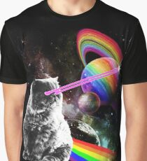 Lazer Eyes Rainbow Cat in Space Graphic T-Shirt