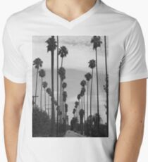Vintage Black & White California Palm Trees Photo Men's V-Neck T-Shirt