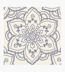 Vintager marineblauer Elfenbein elegante Blumenmandala Fotodruck