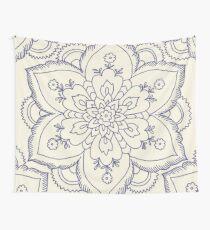 Vintage navy blue ivory elegant floral mandala Wall Tapestry