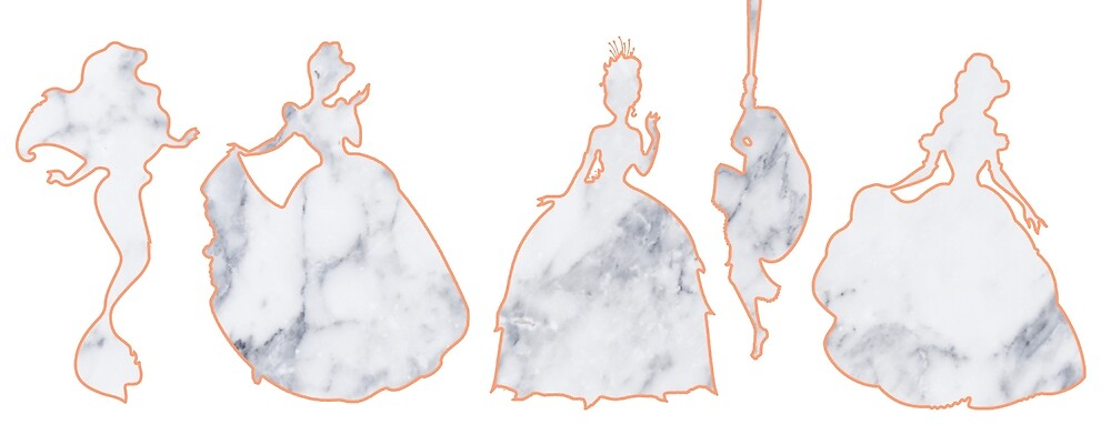5 Princesses Marble Silhouette by MarbleMoments