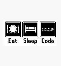 Eat Sleep Code Photographic Print