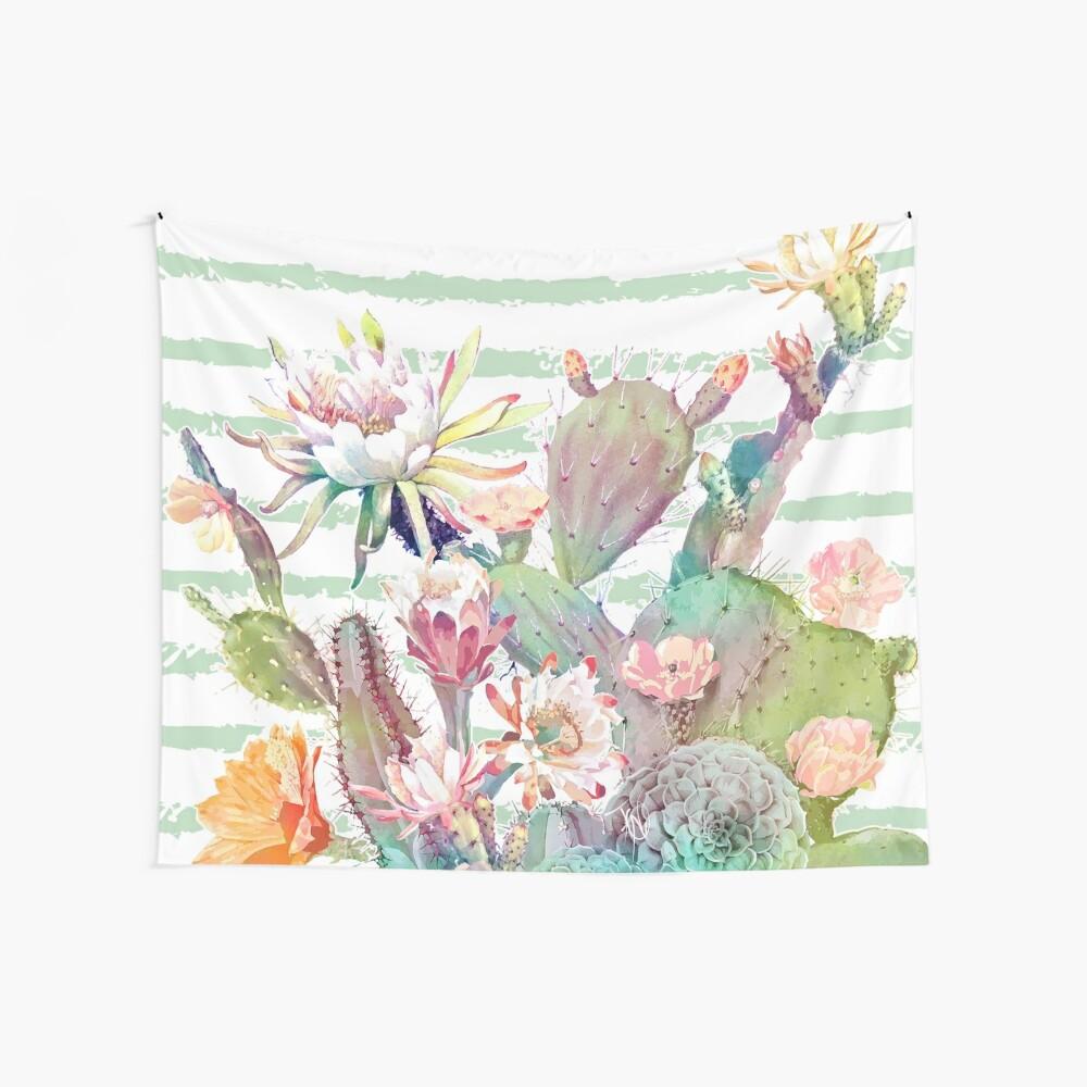 Aquarell Kaktus, Blumen und Streifen Design Wandbehang