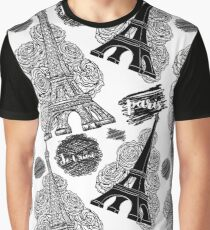Paris. Vintage seamless pattern with Eiffel Tower, roses and ink scribbles Graphic T-Shirt