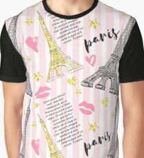Paris. Vintage seamless pattern with Eiffel Tower, kisses, hearts and stars with golden glitter foil texture on striped background. Graphic T-Shirt