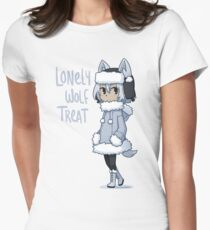Lonely Wolf Treat Womens Fitted T-Shirt