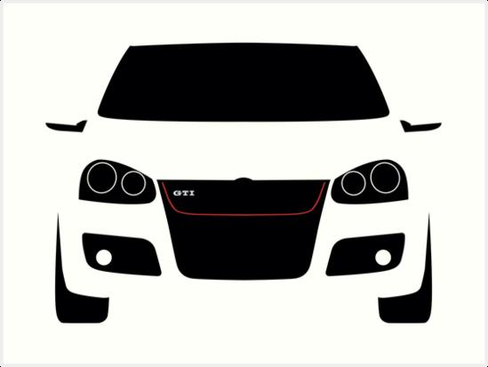 Vw Golf Gti Mk5 Silhouette Kunstdrucke Von Cedramichelle Redbubble