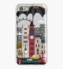 London, rainy day, attractions, travel poster iPhone Case/Skin