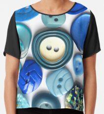 blue buttons Chiffon Top