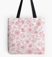 Marigolds red on white Tote Bag