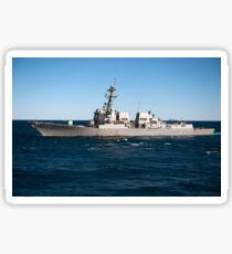 Guided-missile destroyer USS Momsen transits the Coral Sea. Sticker