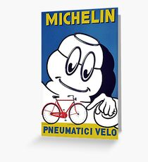 BICYCLES: Vintage Michelin Cycle Tires Advertising Print Greeting Card