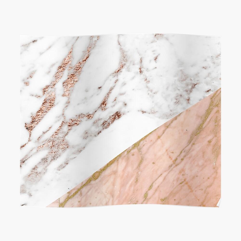 Rose gold marble blended Poster