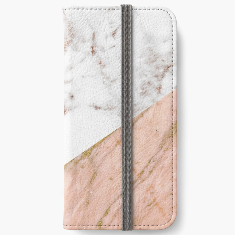 Rose gold marble blended iPhone Wallet