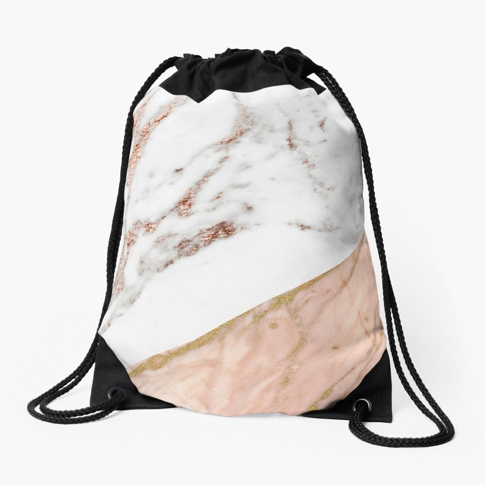 Rose gold marble blended Drawstring Bag