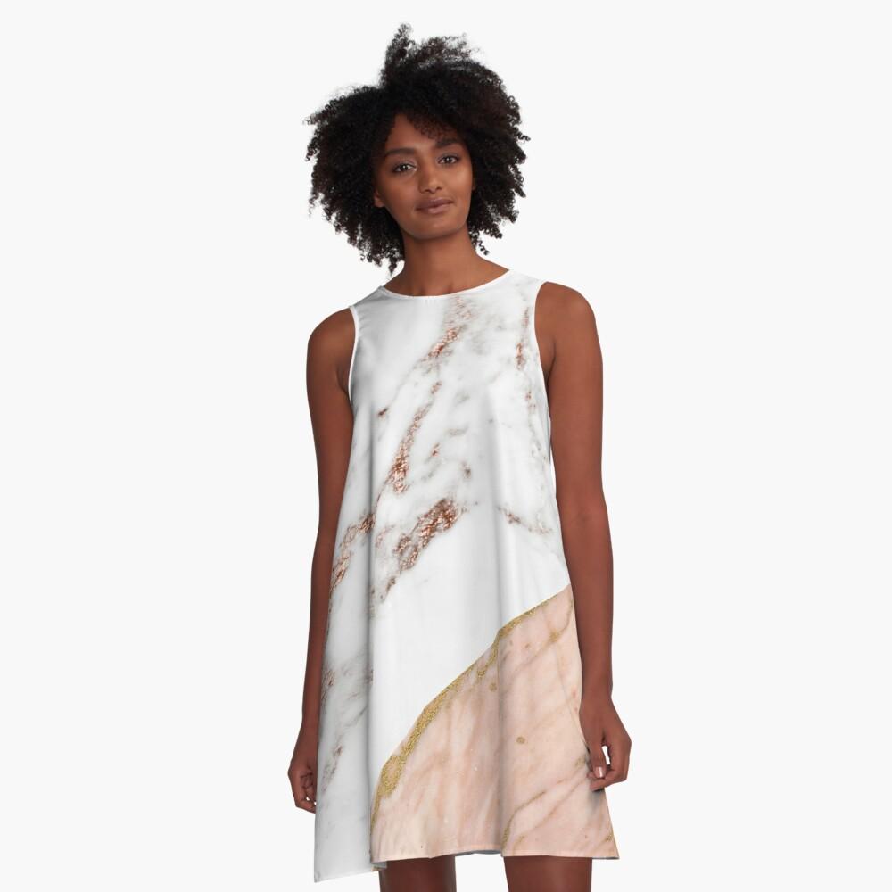 Rose gold marble blended A-Line Dress