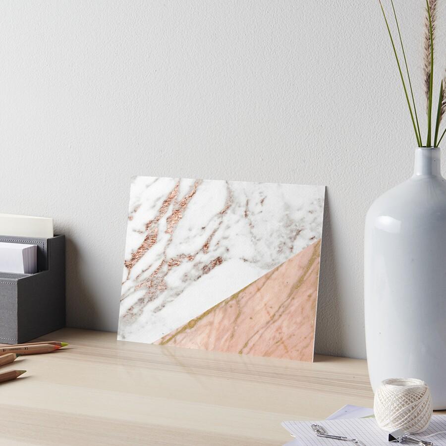 Rose gold marble blended Art Board Print