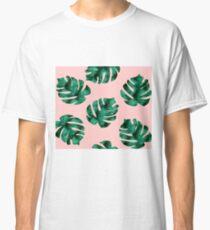 Tropical fern leaves on peach Classic T-Shirt