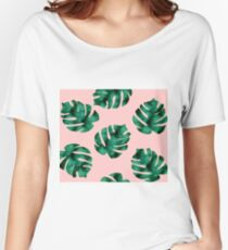 Tropical fern leaves on peach Women's Relaxed Fit T-Shirt