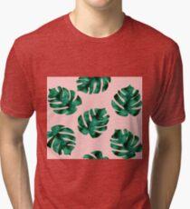 Tropical fern leaves on peach Tri-blend T-Shirt