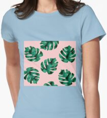 Tropical fern leaves on peach Womens Fitted T-Shirt