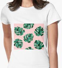 Tropical fern leaves on peach T-Shirt