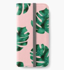 Tropical fern leaves on peach iPhone Wallet/Case/Skin