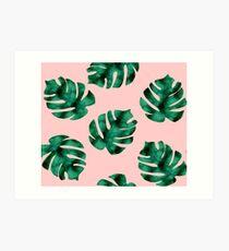 Tropical fern leaves on peach Art Print