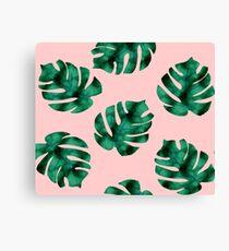 Tropical fern leaves on peach Canvas Print