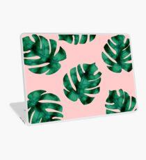 Tropical fern leaves on peach Laptop Skin