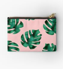 Tropical fern leaves on peach Studio Pouch