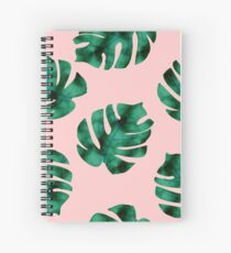 Tropical fern leaves on peach Spiral Notebook