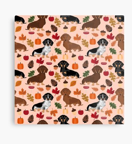 Dachshund dog breed fall autumn leaves doxie dachsie pet friendly pattern Metal Print