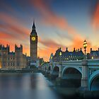 Big Ben red sunset by Delfino