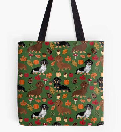 Dachshund dog breed fall autumn leaves doxie dachsie pet friendly pattern Tote Bag