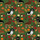 Dachshund dog breed fall autumn leaves doxie dachsie pet friendly pattern by PetFriendly