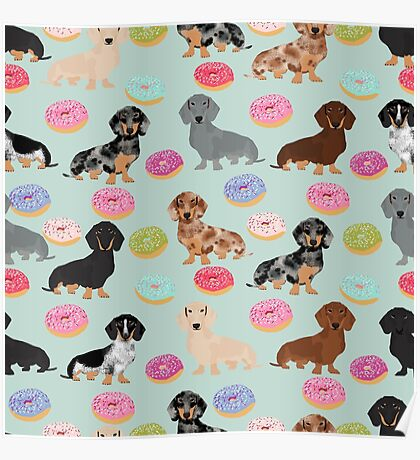Dachshund dog breed donuts doughnuts food doxie dachsie pet friendly pattern Poster
